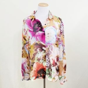 Simply Vera Wang sheer floral button down shirt L
